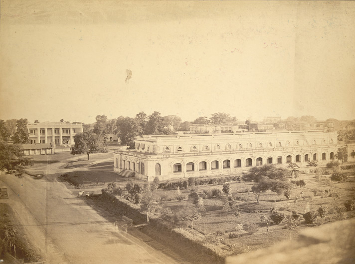 View showing the old Dacca College on the left and the old Court Building on the right